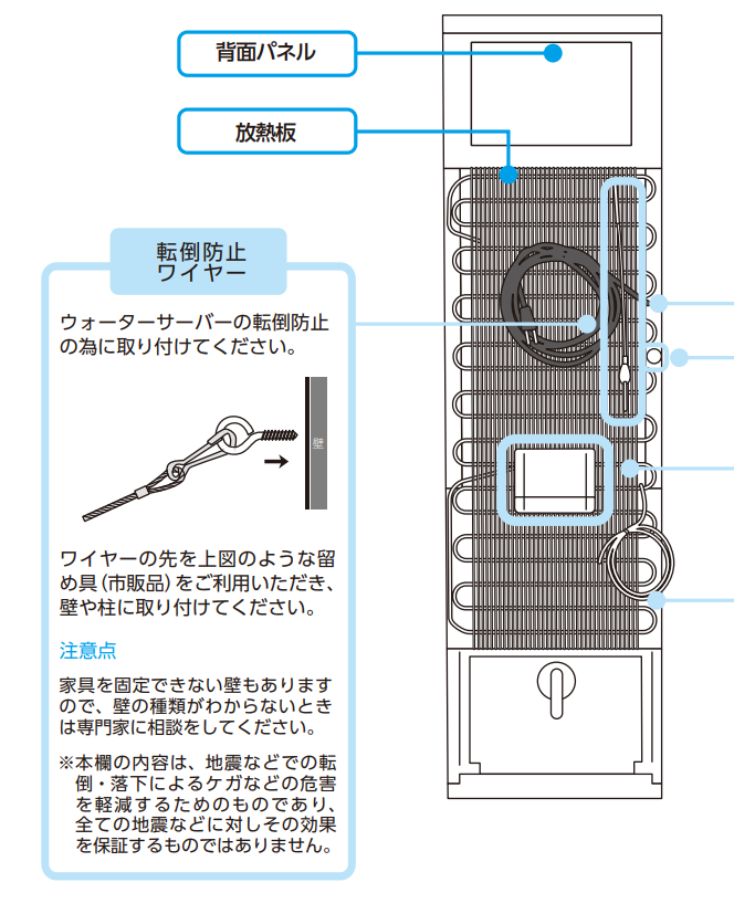 ウォーターサーバーによって転倒防止ワイヤーがついているものもある